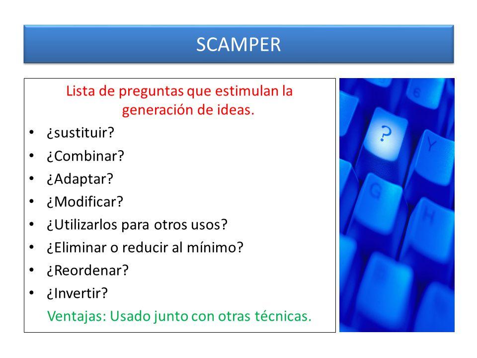 SCAMPER Lista de preguntas que estimulan la generación de ideas.