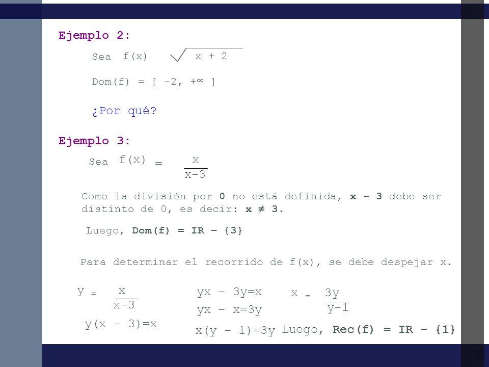 Ejemplo 2: ¿Por qué Ejemplo 3: f(x) = x x-3 y = x yx – 3y=x x = 3y