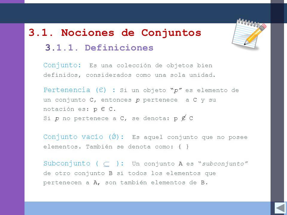 3.1. Nociones de Conjuntos 3.1.1. Definiciones