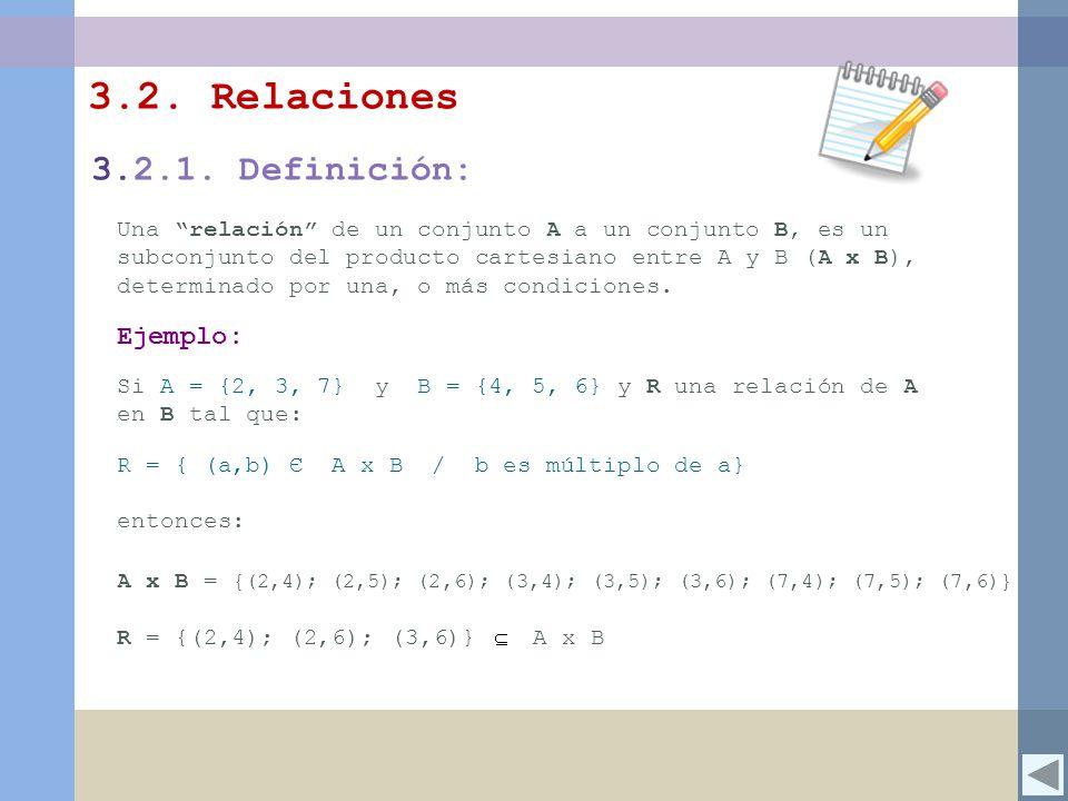 3.2. Relaciones 3.2.1. Definición: Ejemplo: