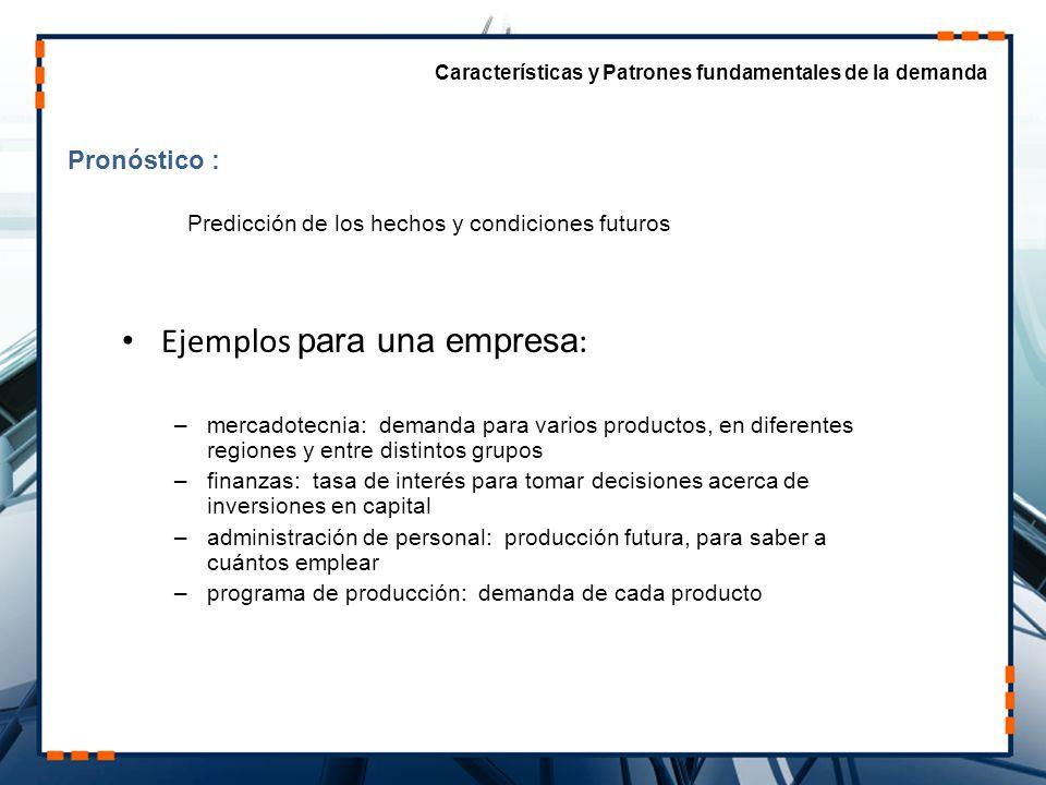 Ejemplos para una empresa: