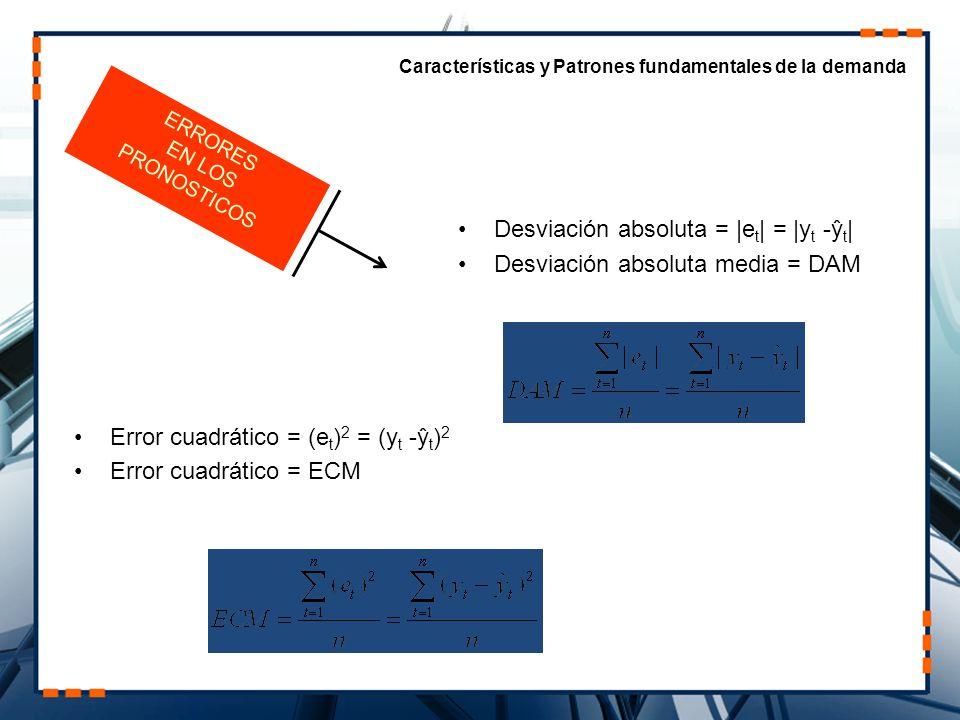 Desviación absoluta = |et| = |yt -ŷt| Desviación absoluta media = DAM