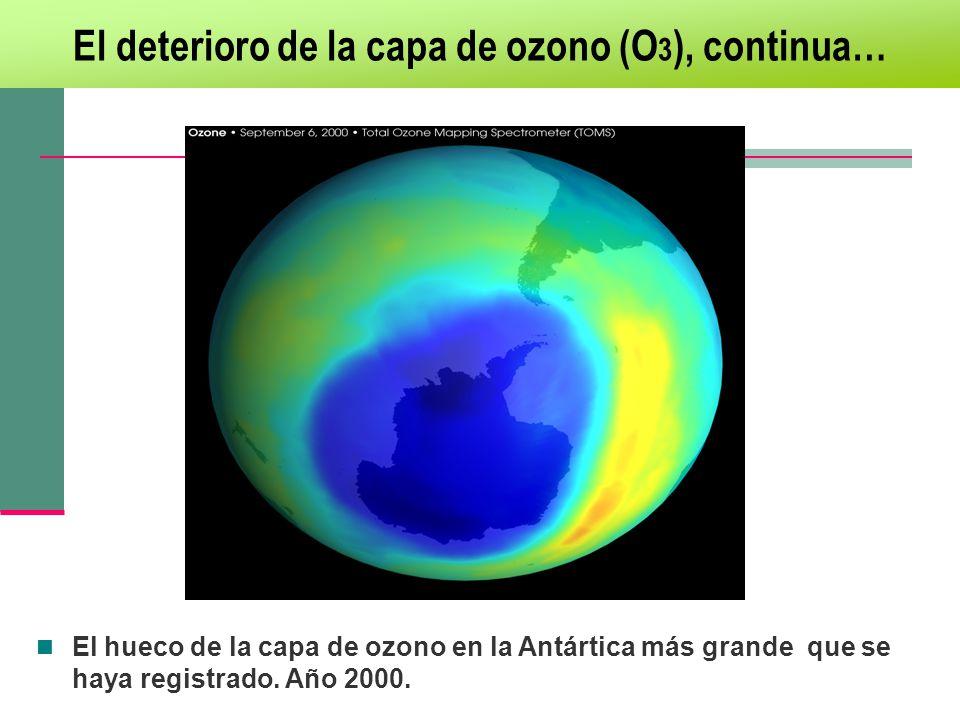 El deterioro de la capa de ozono (O3), continua…