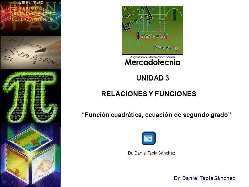 RELACIONES Y FUNCIONES Función cuadrática, ecuación de segundo grado