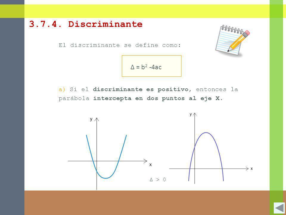 3.7.4. Discriminante Δ = b2 -4ac El discriminante se define como: