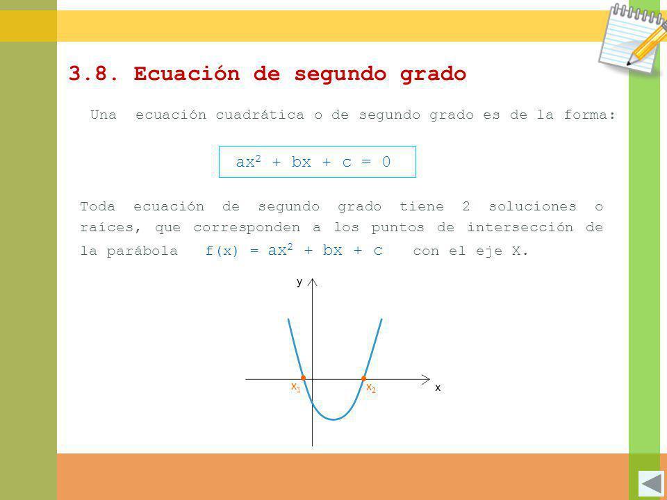 3.8. Ecuación de segundo grado