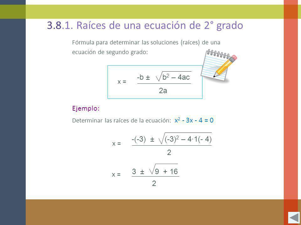 3.8.1. Raíces de una ecuación de 2° grado