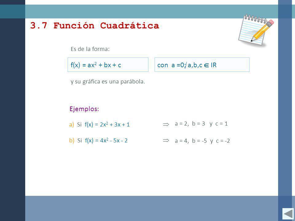 3.7 Función Cuadrática f(x) = ax2 + bx + c con a =0; a,b,c  IR