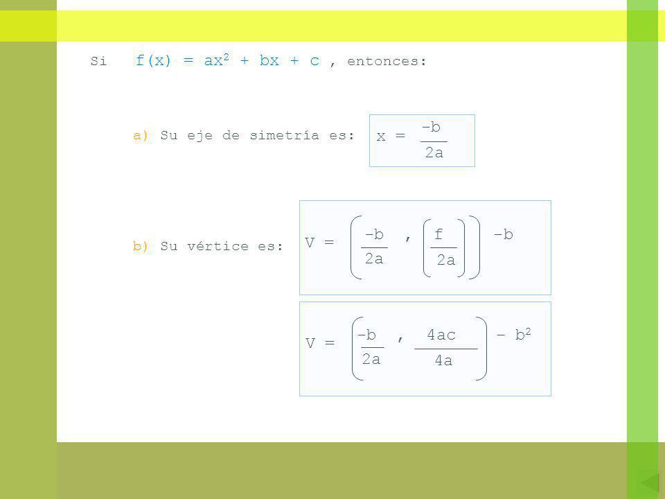 -b x = 2a -b , f -b V = 2a -b , 4ac – b2 V = 2a 4a