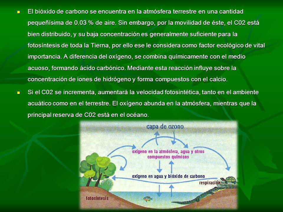 El bióxido de carbono se encuentra en la atmósfera terrestre en una cantidad pequeñísima de 0.03 % de aire. Sin embargo, por la movilidad de éste, el C02 está bien distribuido, y su baja concentración es generalmente suficiente para la fotosíntesis de toda la Tierna, por ello ese le considera como factor ecológico de vital importancia. A diferencia del oxígeno, se combina químicamente con el medio acuoso, formando ácido carbónico. Mediante esta reacción influye sobre la concentración de iones de hidrógeno y forma compuestos con el calcio.
