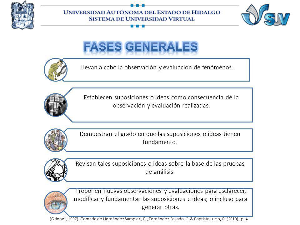 Fases generales Llevan a cabo la observación y evaluación de fenómenos.