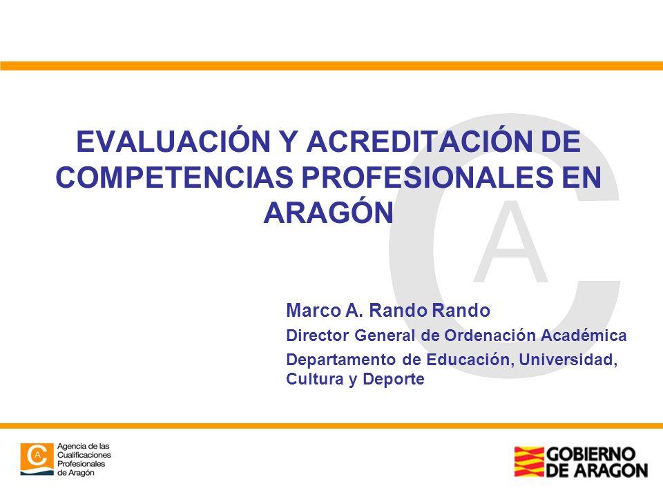 EVALUACIÓN Y ACREDITACIÓN DE COMPETENCIAS PROFESIONALES EN ARAGÓN