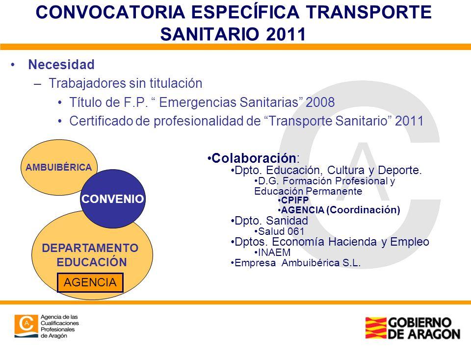 CONVOCATORIA ESPECÍFICA TRANSPORTE SANITARIO 2011