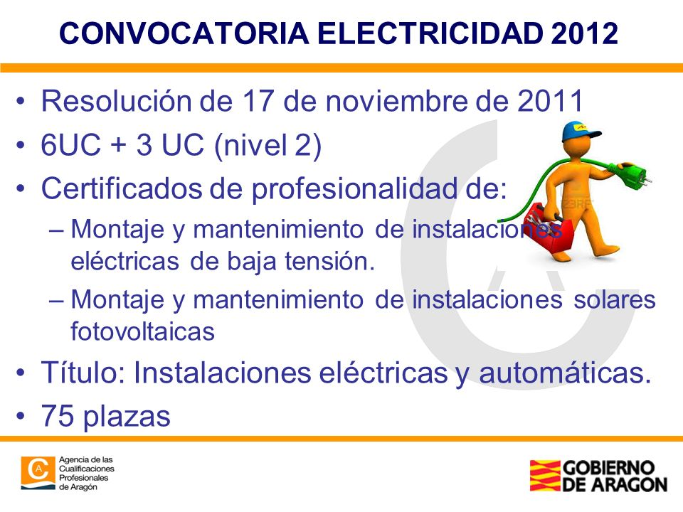 CONVOCATORIA ELECTRICIDAD 2012