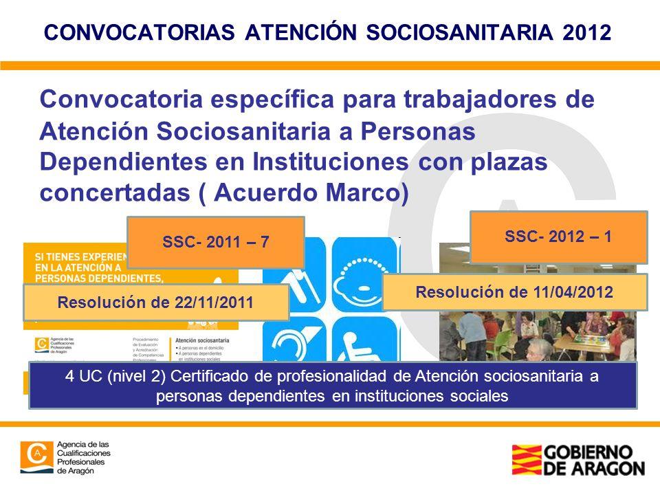 CONVOCATORIAS ATENCIÓN SOCIOSANITARIA 2012