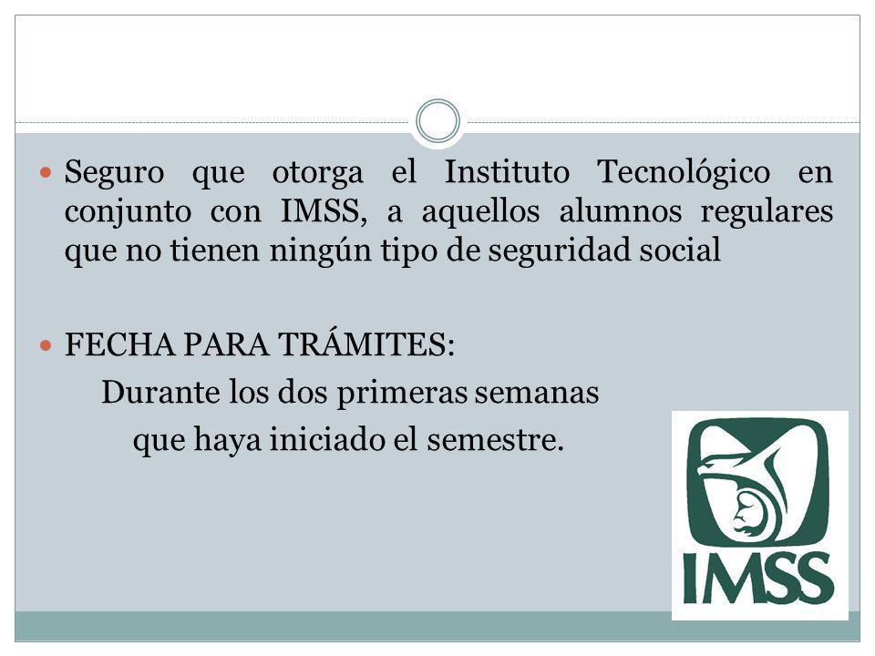 Seguro que otorga el Instituto Tecnológico en conjunto con IMSS, a aquellos alumnos regulares que no tienen ningún tipo de seguridad social