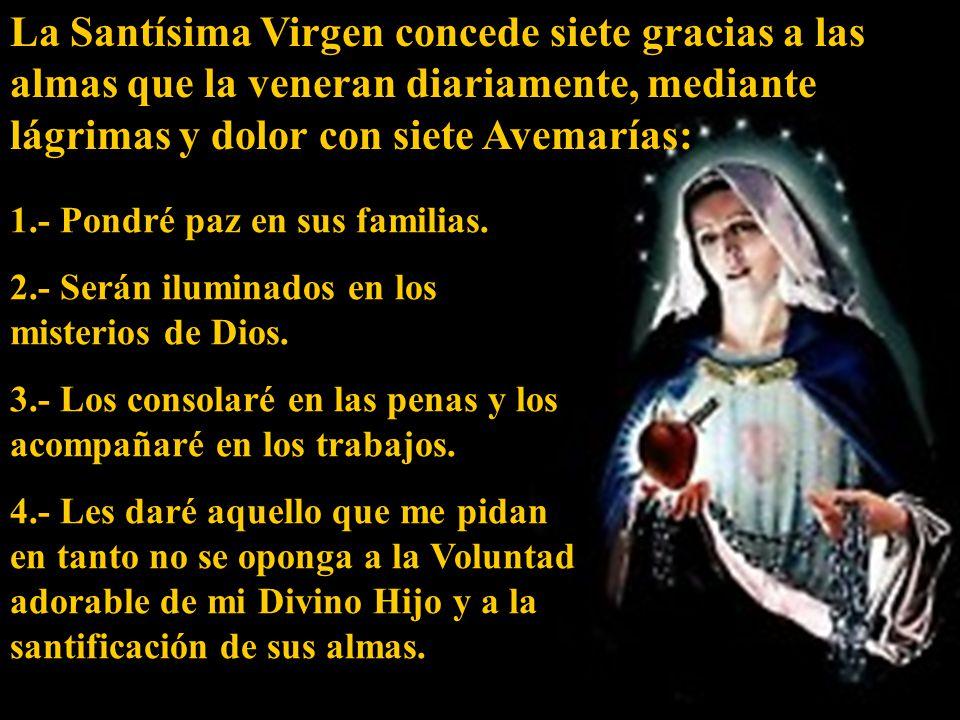 La Santísima Virgen concede siete gracias a las almas que la veneran diariamente, mediante lágrimas y dolor con siete Avemarías: