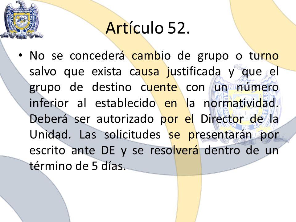 Artículo 52.