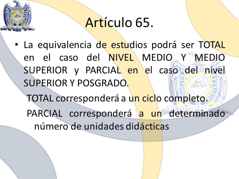 Artículo 65.