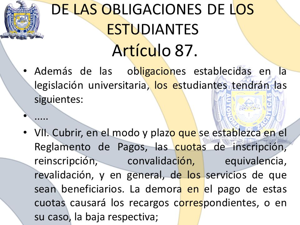 DE LAS OBLIGACIONES DE LOS ESTUDIANTES