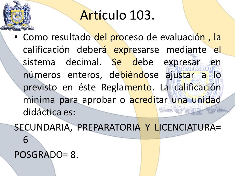 Artículo 103.