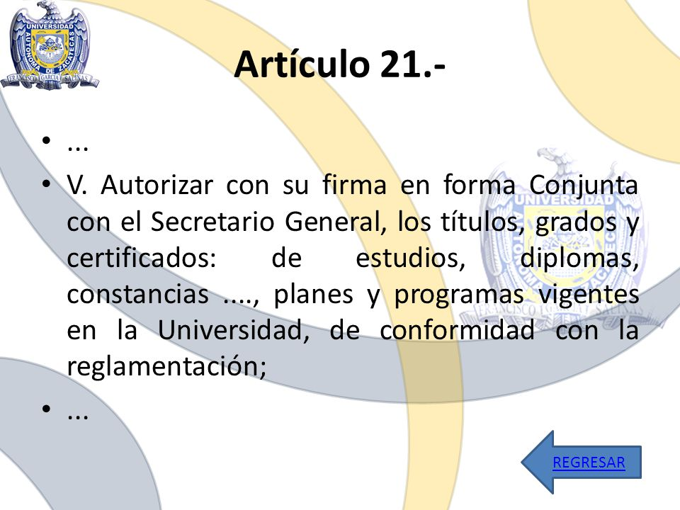 Artículo 21.- ...