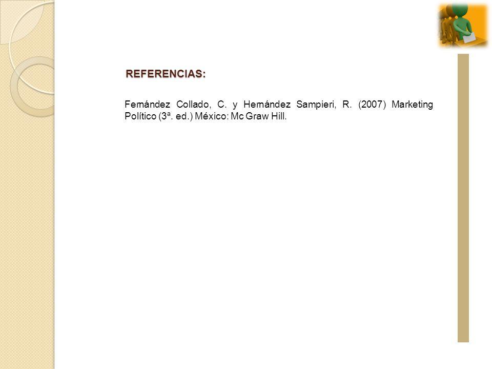 REFERENCIAS: Fernández Collado, C. y Hernández Sampieri, R.