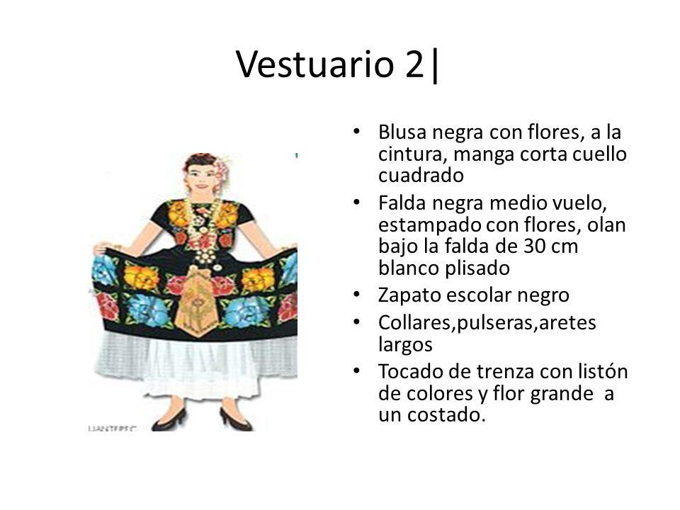 Vestuario 2| Blusa negra con flores, a la cintura, manga corta cuello cuadrado.