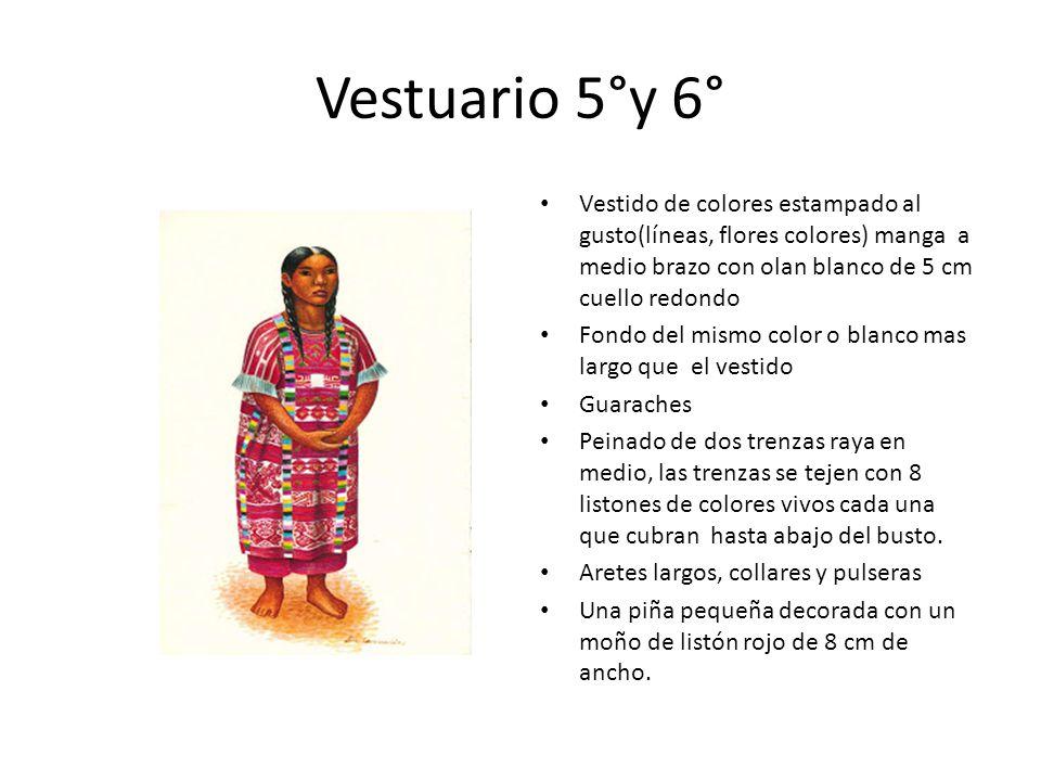 Vestuario 5°y 6° Vestido de colores estampado al gusto(líneas, flores colores) manga a medio brazo con olan blanco de 5 cm cuello redondo.