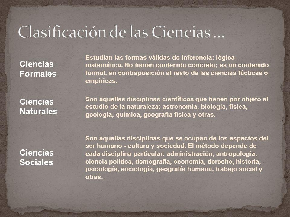 Clasificación de las Ciencias …