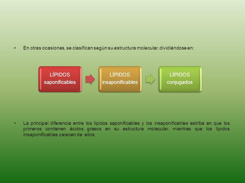 saponificables LÍPIDOS. insaponificables. conjugados. En otras ocasiones, se clasifican según su estructura molecular, dividiéndose en: