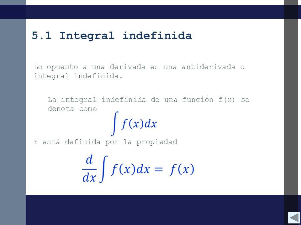 5.1 Integral indefinida Lo opuesto a una derivada es una antiderivada o integral indefinida.