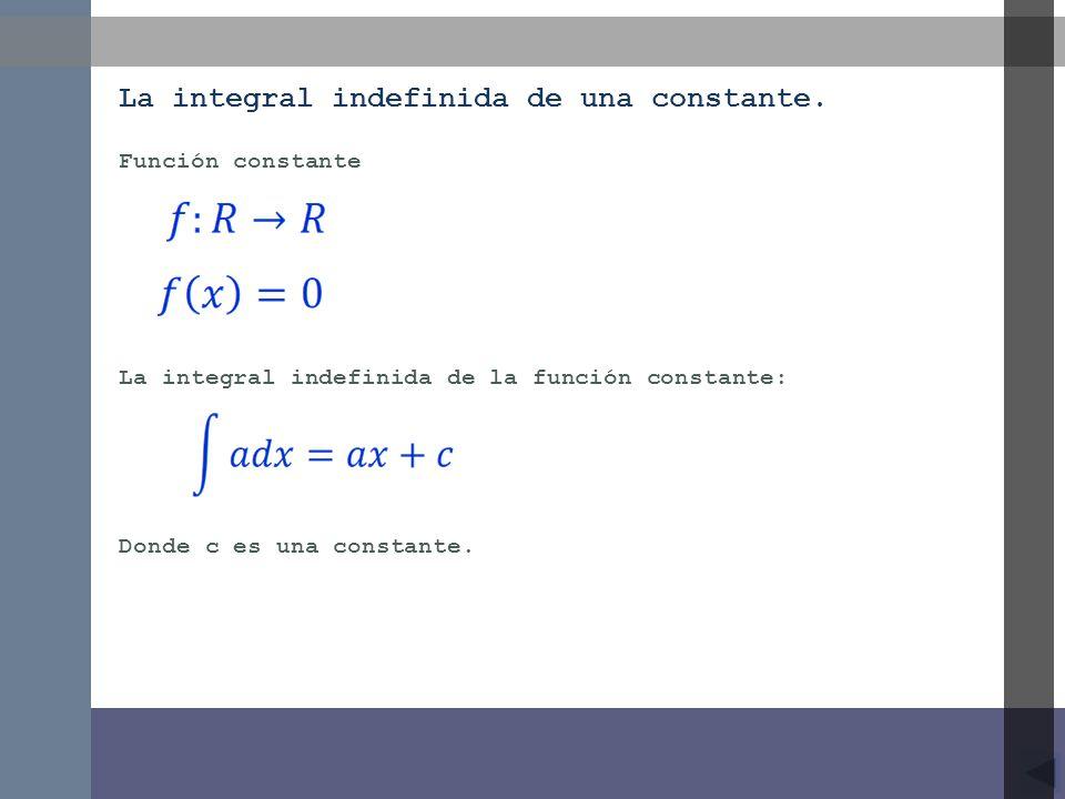La integral indefinida de una constante.