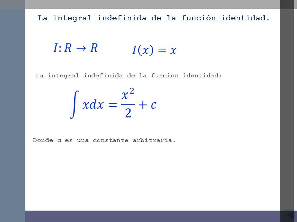 La integral indefinida de la función identidad.