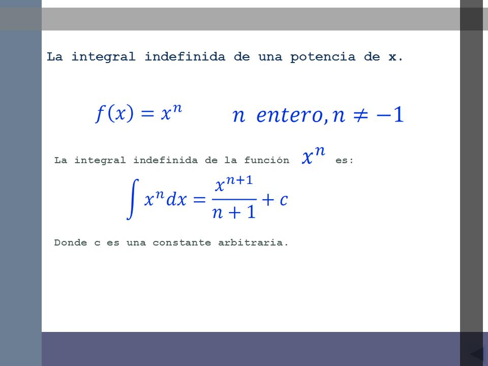 La integral indefinida de una potencia de x.