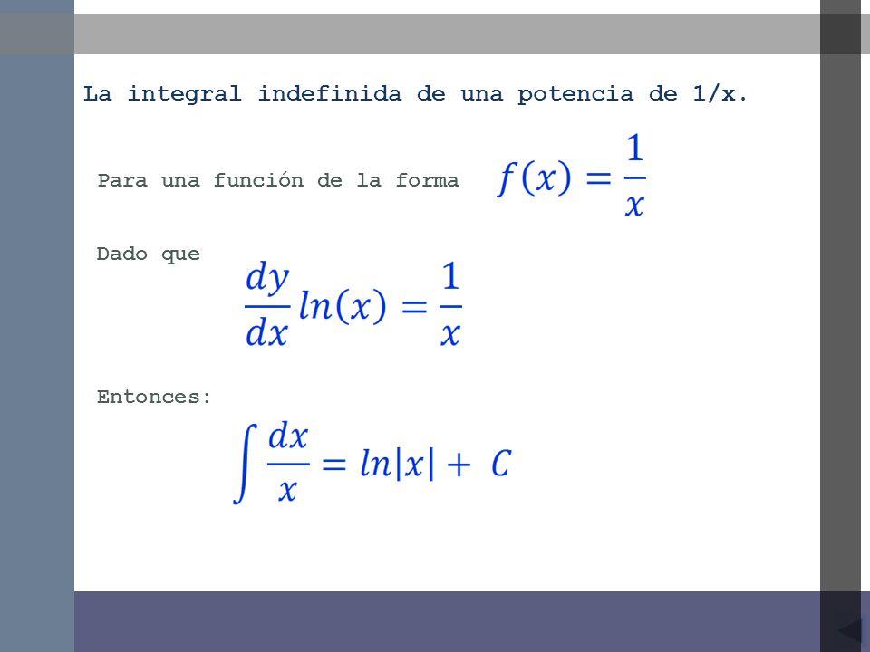 La integral indefinida de una potencia de 1/x.