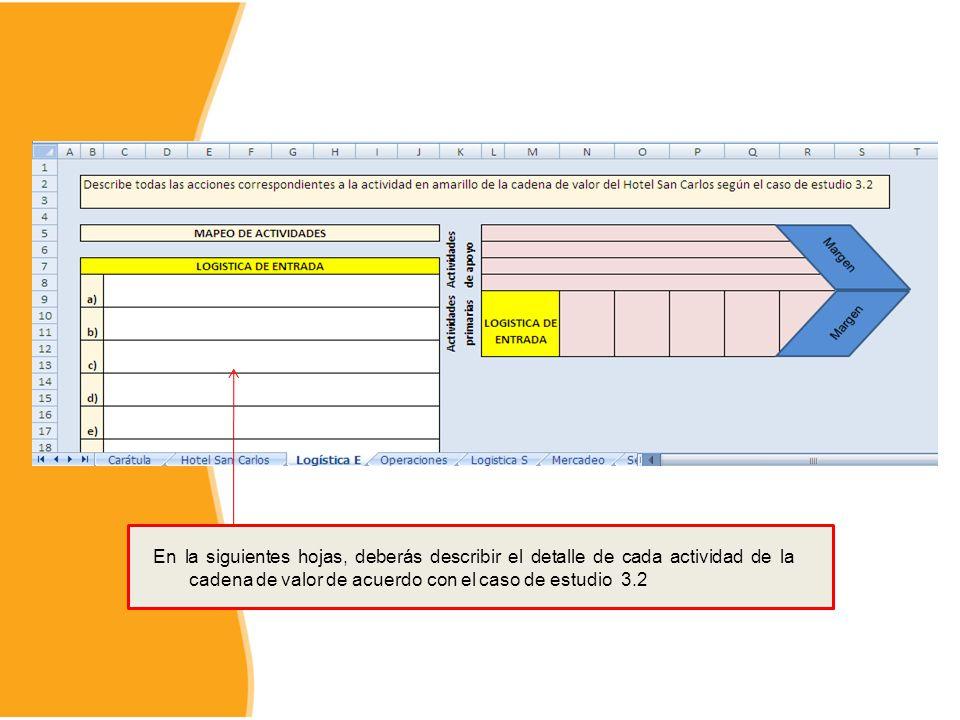 En la siguientes hojas, deberás describir el detalle de cada actividad de la cadena de valor de acuerdo con el caso de estudio 3.2
