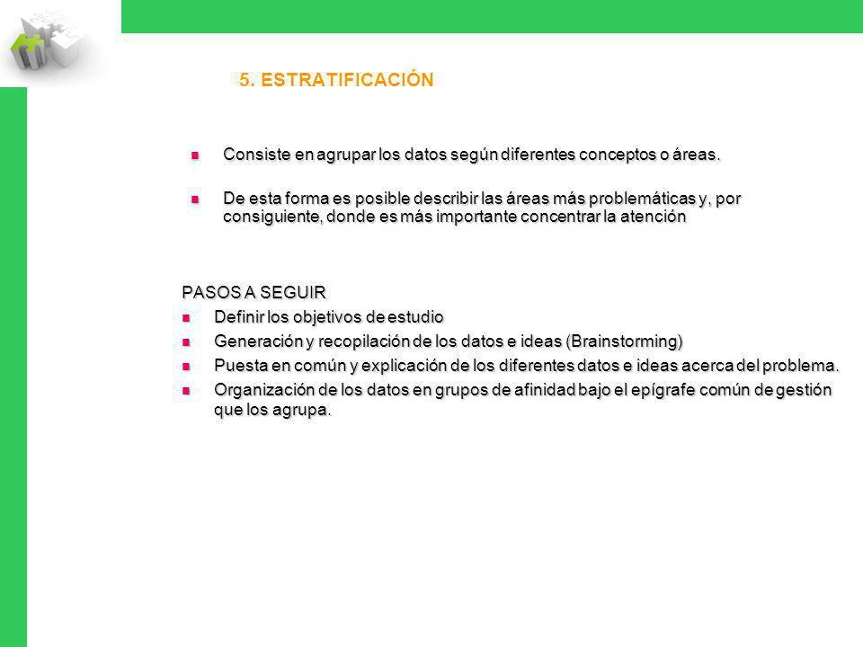 5. Estratificación Consiste en agrupar los datos según diferentes conceptos o áreas.