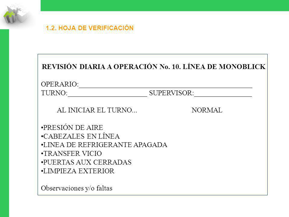 REVISIÓN DIARIA A OPERACIÓN No. 10. LÍNEA DE MONOBLICK