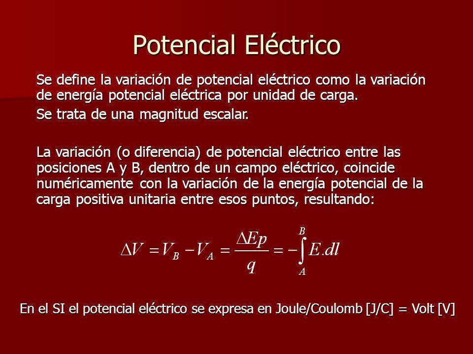 Potencial Eléctrico Se define la variación de potencial eléctrico como la variación de energía potencial eléctrica por unidad de carga.