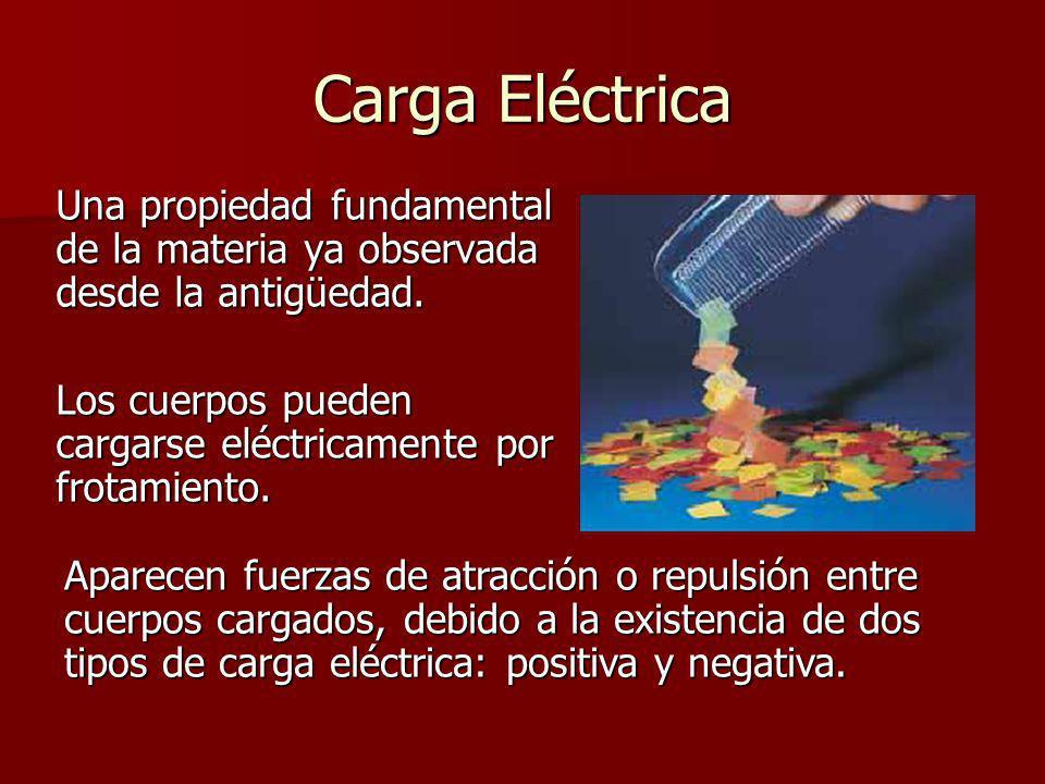 Carga EléctricaUna propiedad fundamental de la materia ya observada desde la antigüedad. Los cuerpos pueden cargarse eléctricamente por frotamiento.