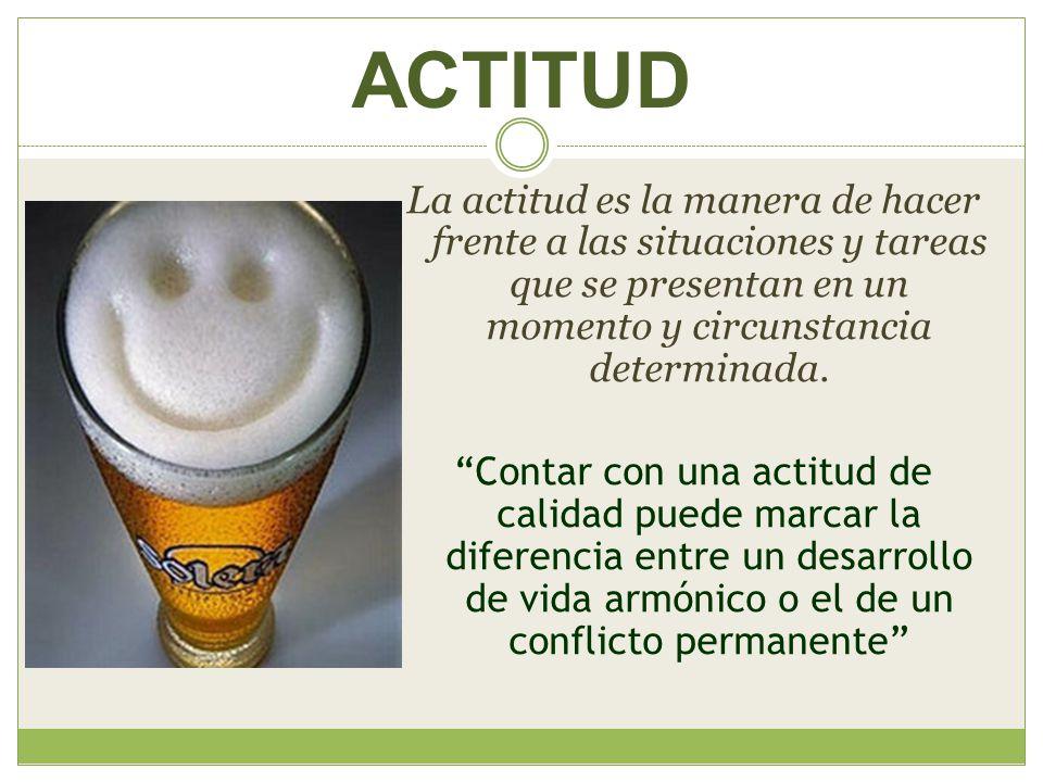 ACTITUD La actitud es la manera de hacer frente a las situaciones y tareas que se presentan en un momento y circunstancia determinada.