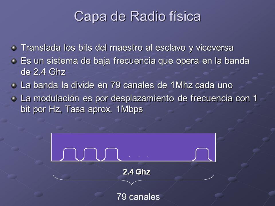 Capa de Radio física Translada los bits del maestro al esclavo y viceversa. Es un sistema de baja frecuencia que opera en la banda de 2.4 Ghz.