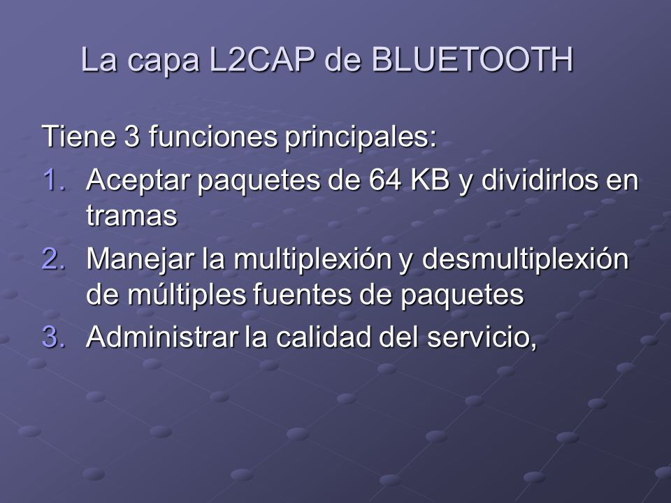 La capa L2CAP de BLUETOOTH