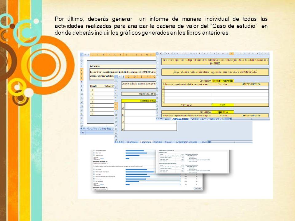 Por último, deberás generar un informe de manera individual de todas las actividades realizadas para analizar la cadena de valor del Caso de estudio en donde deberás incluir los gráficos generados en los libros anteriores.