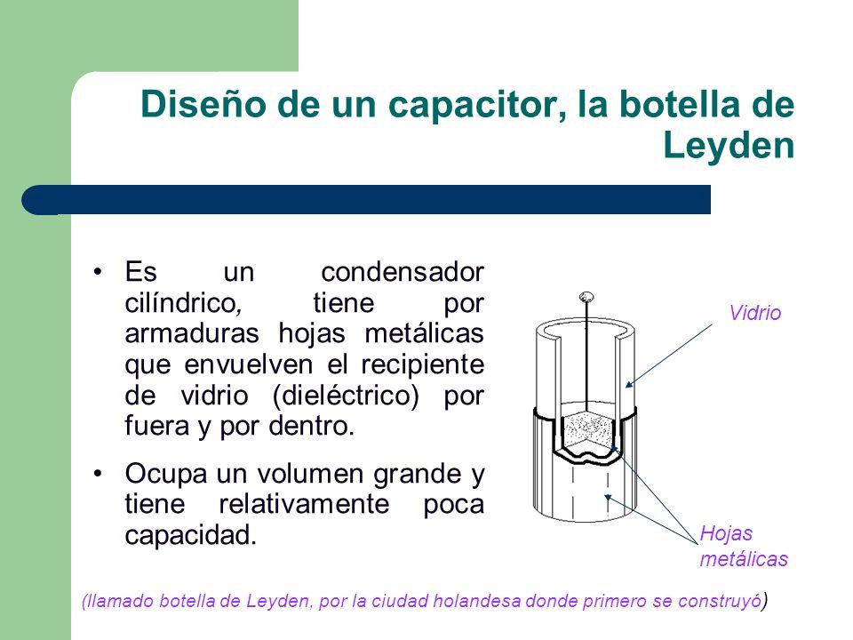 Diseño de un capacitor, la botella de Leyden