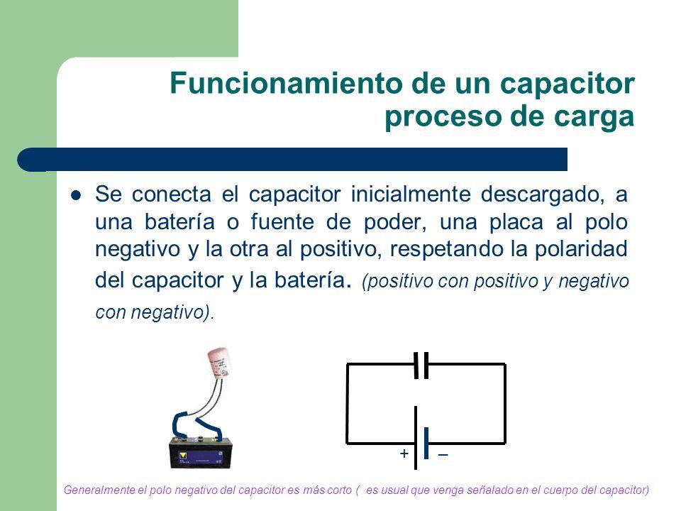 Funcionamiento de un capacitor proceso de carga
