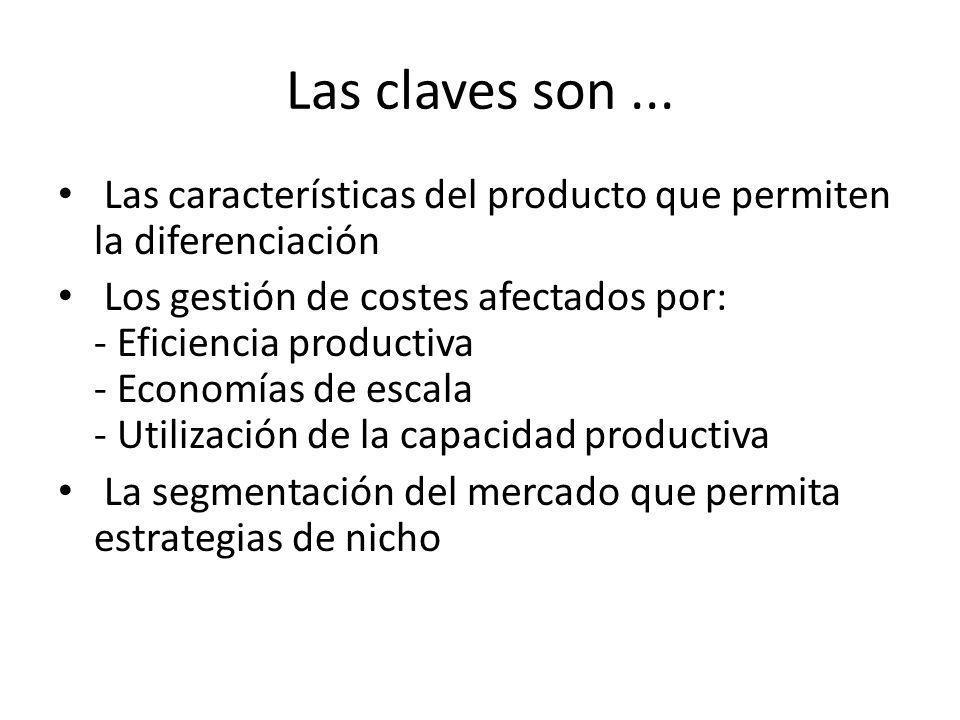 Las claves son ... Las características del producto que permiten la diferenciación.