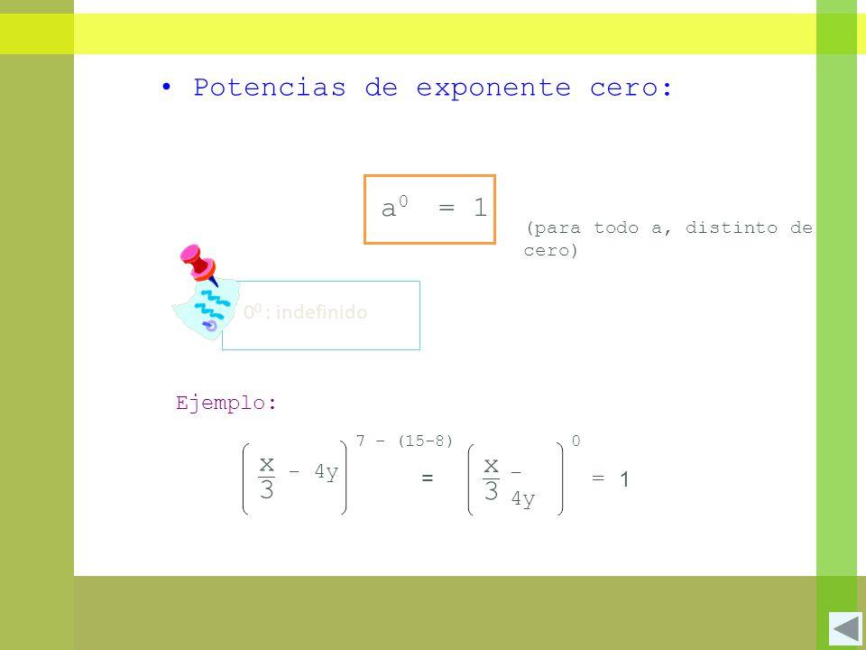 Potencias de exponente cero: