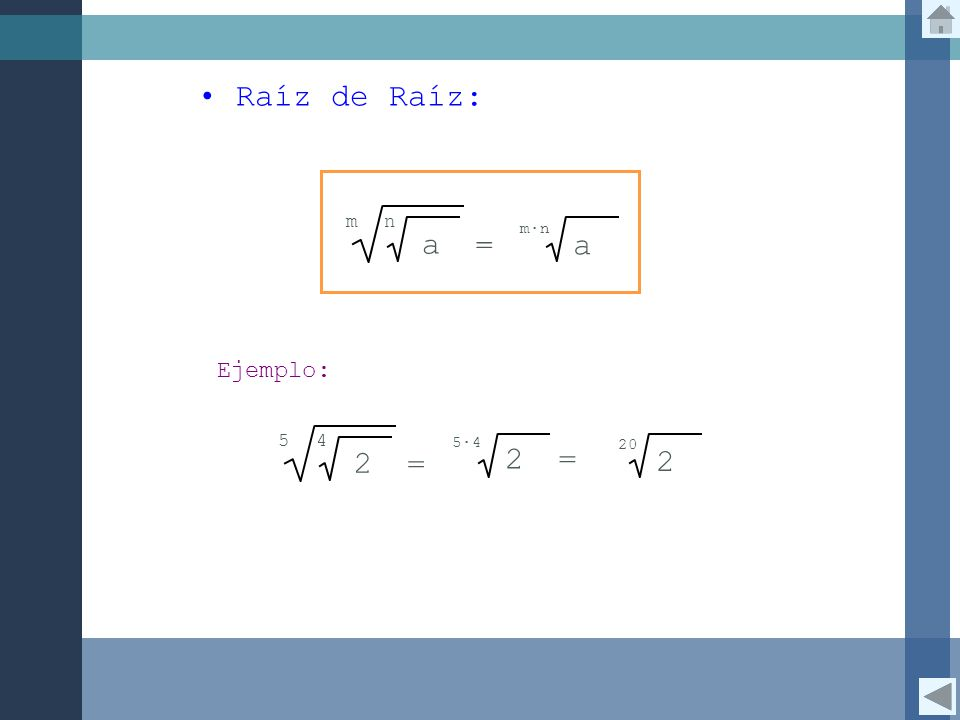 Raíz de Raíz: a = m n m∙n Ejemplo: 2 = 5 4 2 5∙4 = 2 20